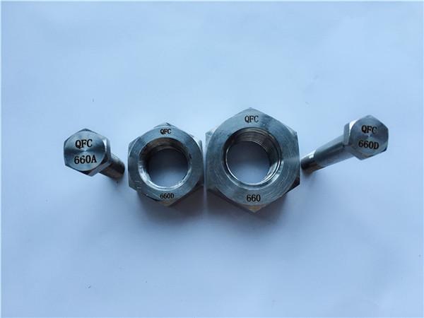 合金660六角螺栓和螺母,緊固件din1.4980